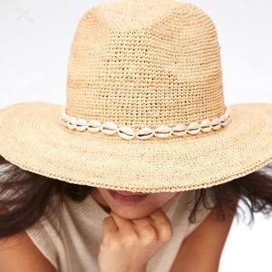 ZARA Raffia Hat with Shell Trim